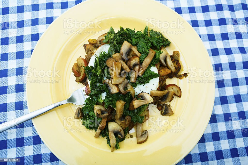 Mushroom Kale and Roasted Vegetables royalty-free stock photo
