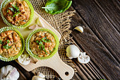 Mushroom muffins with basil