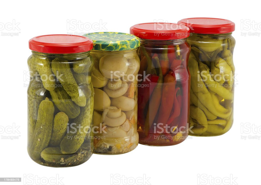 mushroom peppers cucumbers canned glass jar pot royalty-free stock photo