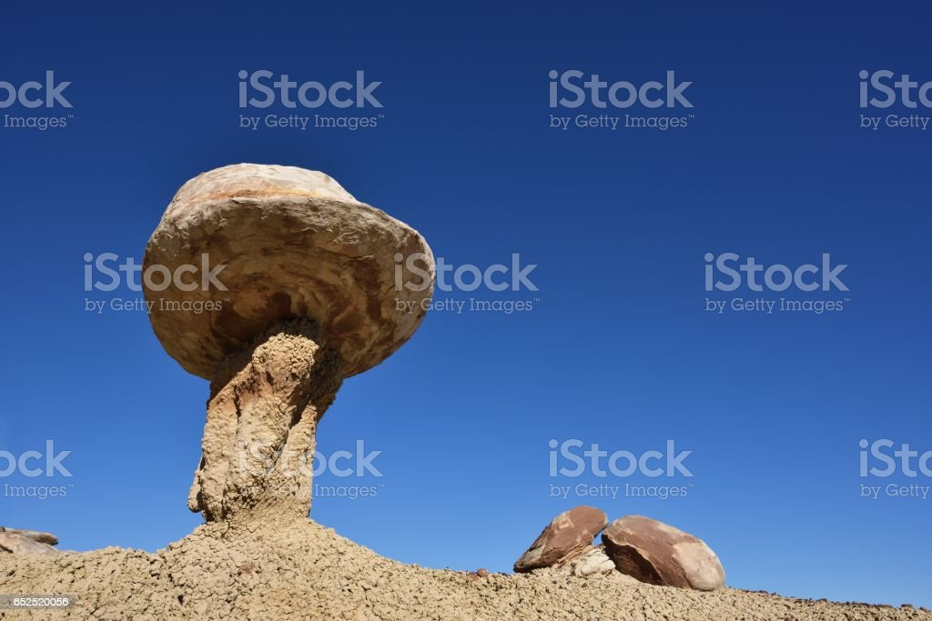 Mushroom rock formation Ah-Shi-Sle-Pah Wilderness Study Area stock photo