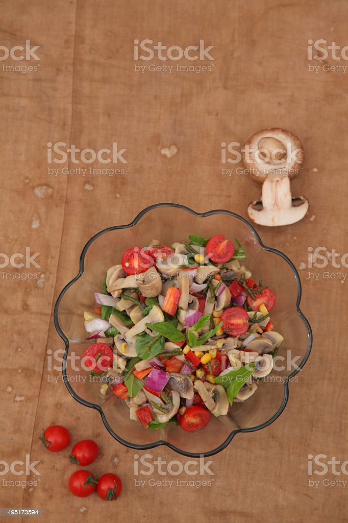mushroom salad vegetable garden stock photo