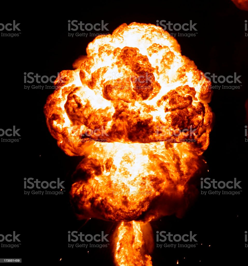 Mushroom shape smoke from nuclear explosion in the dark royalty-free stock photo