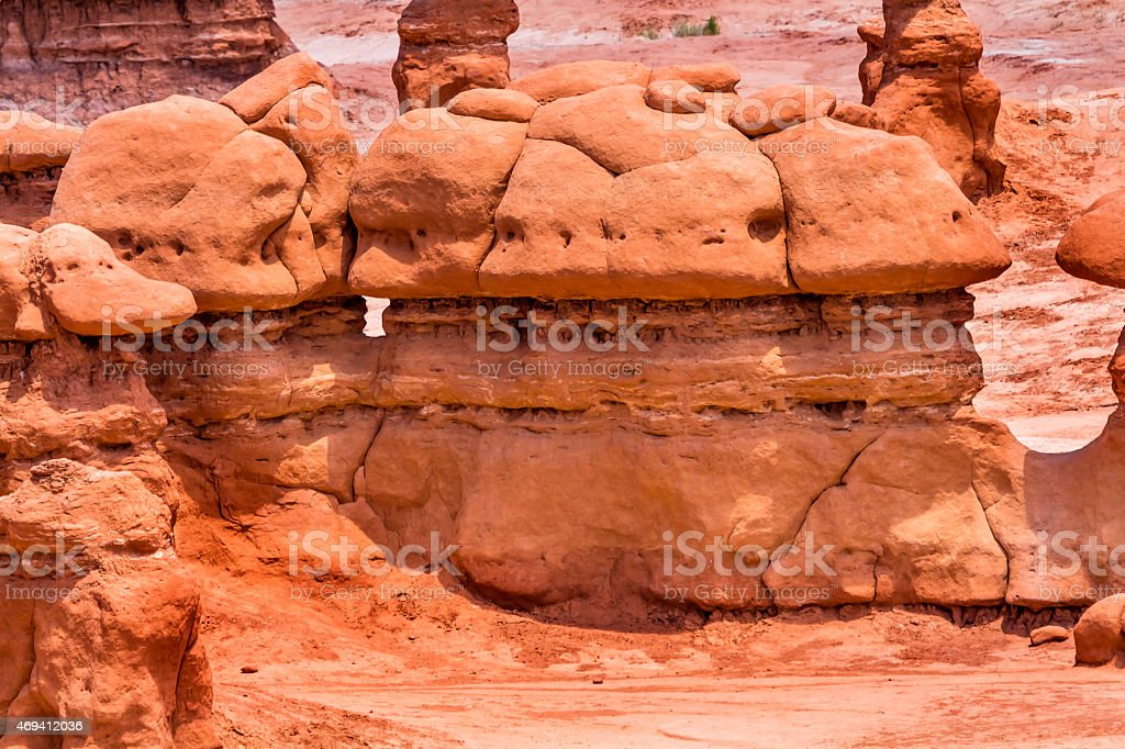 Mushroom Shaped Hoodoos Goblin Valley State Park Rock Canyon Utah stock photo