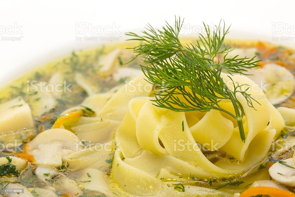mushroom soup and pasta royalty-free stock photo