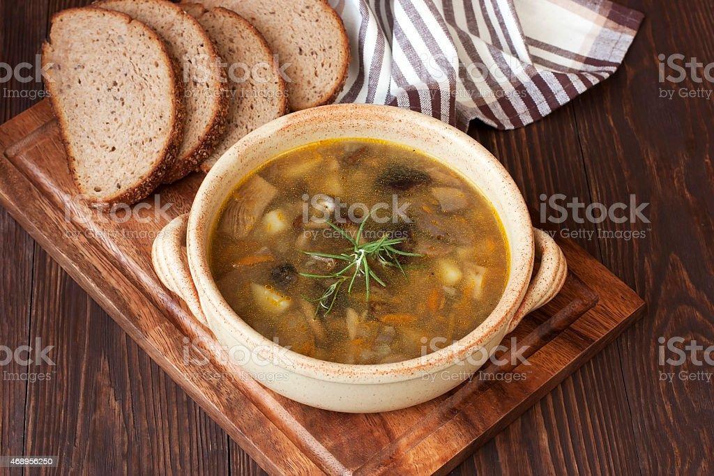 Mushroom soup in ceramic  bowl stock photo
