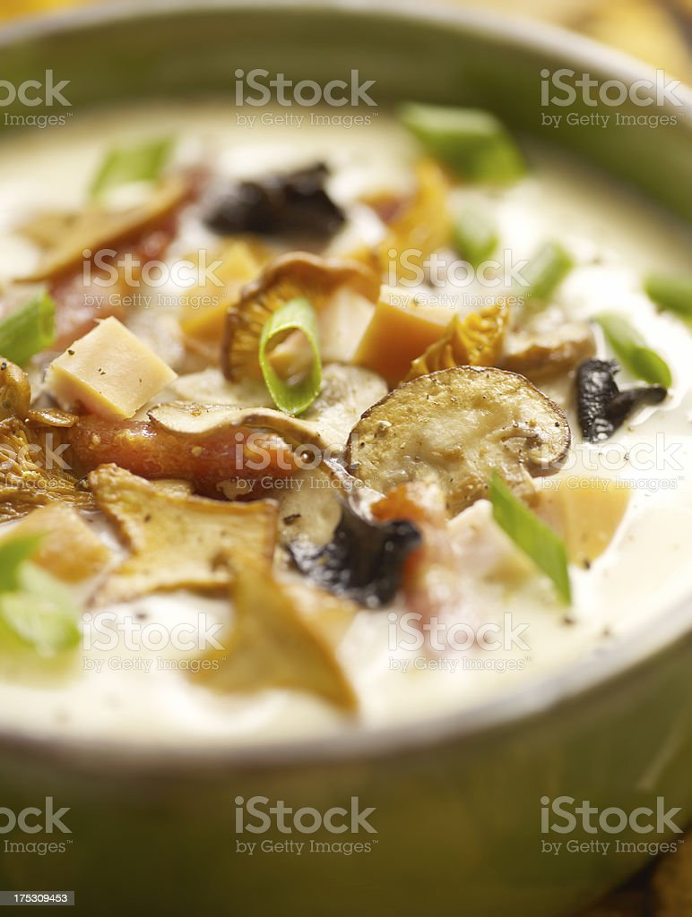 mushroom soup served in a bowl stock photo