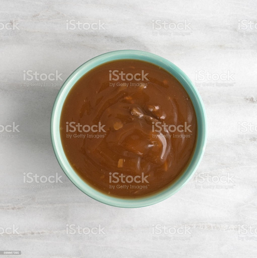 Mushroom soup with beef chunks in a bowl stock photo