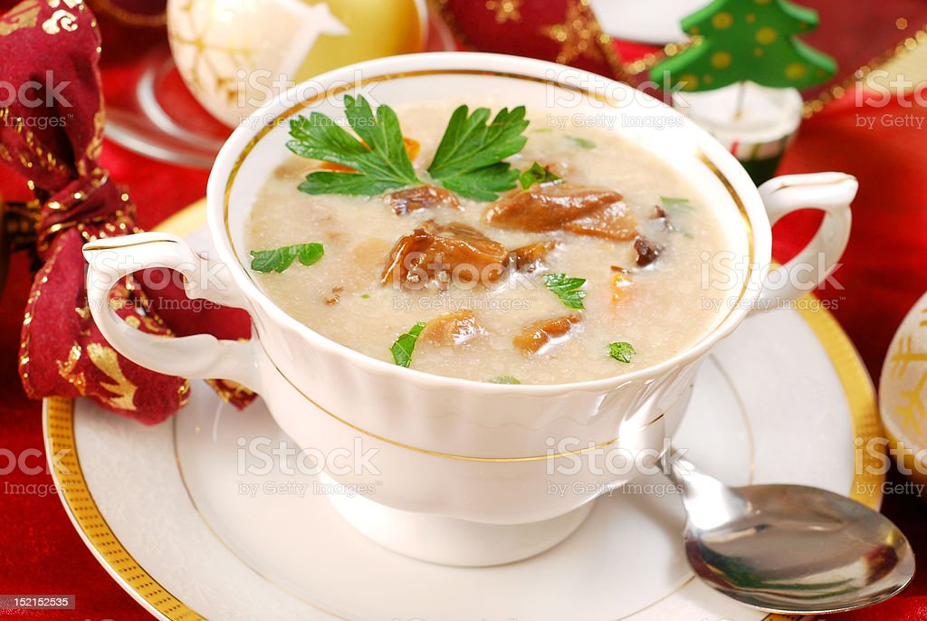 mushroom soup with cream for christmas royalty-free stock photo