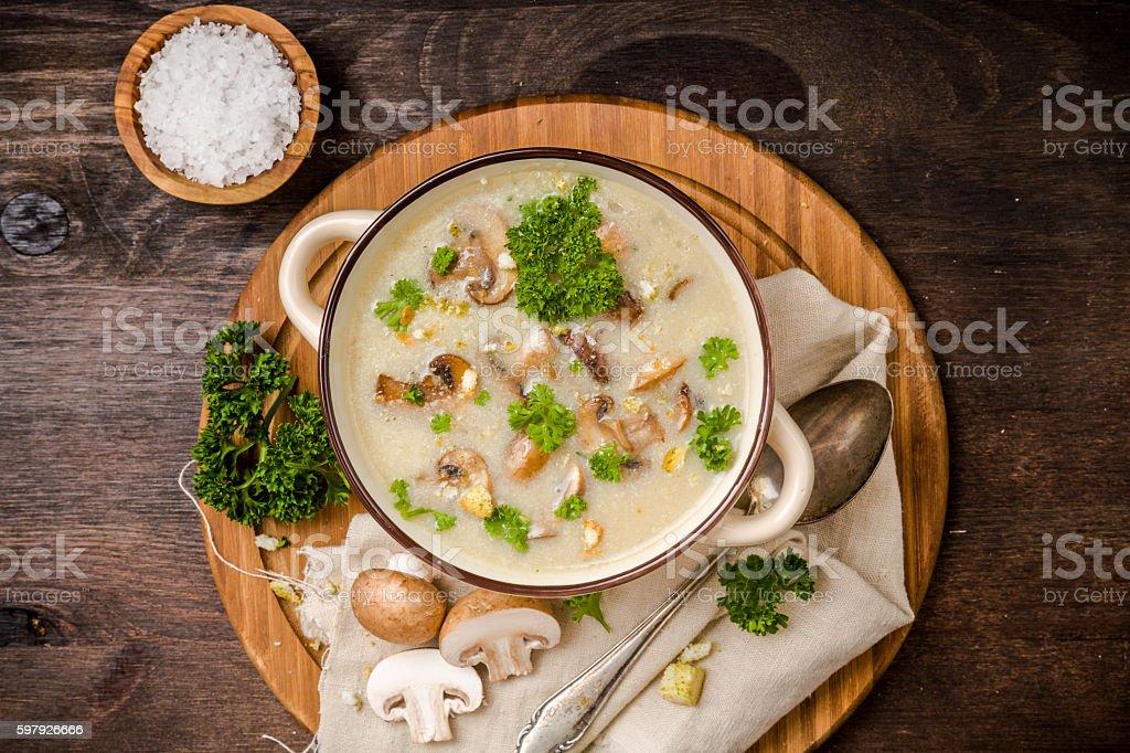 Mushroom soup with parsley stock photo