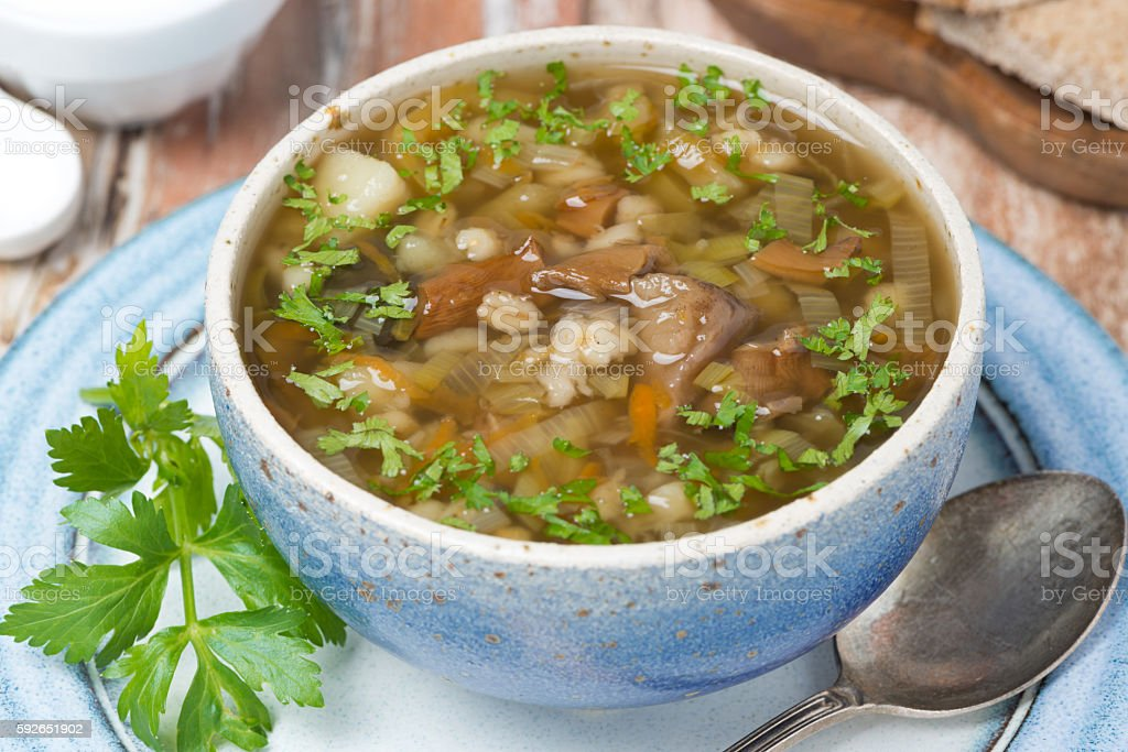 Mushroom soup with pearl barley, top view stock photo