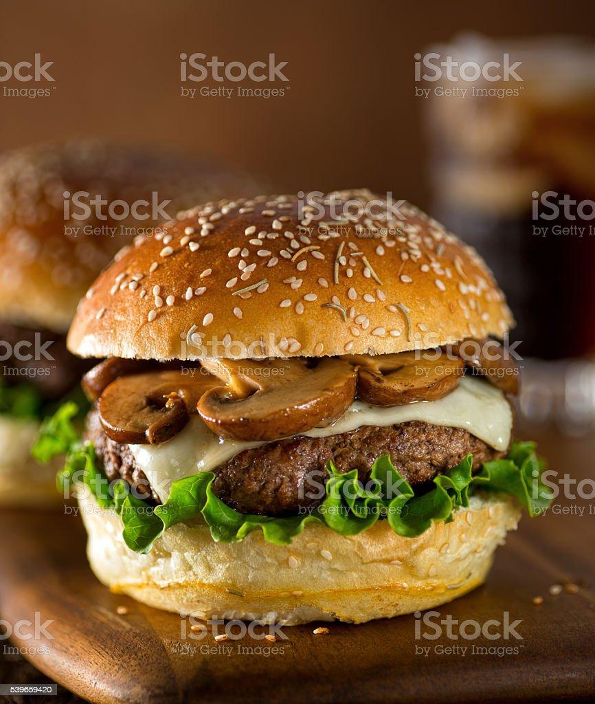 Mushroom Swiss Burger stock photo