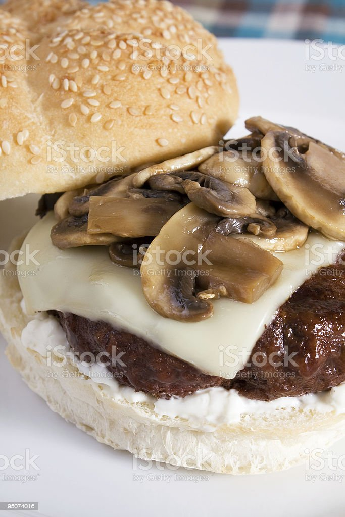 Mushroom Swiss Burger royalty-free stock photo