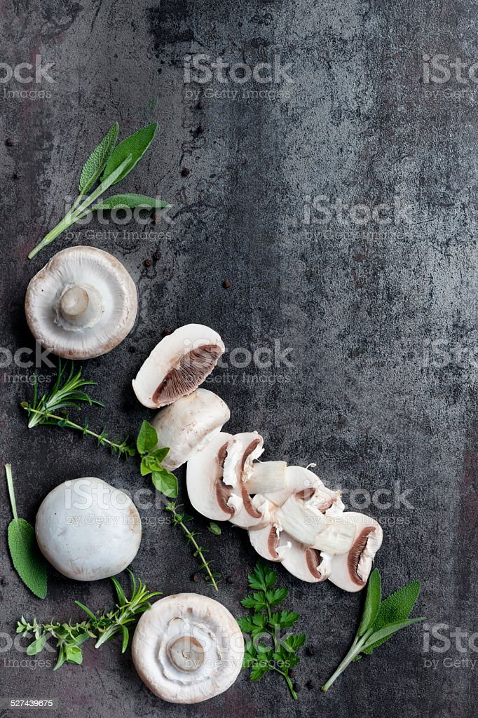 Mushrooms and Herbs Food Background stock photo