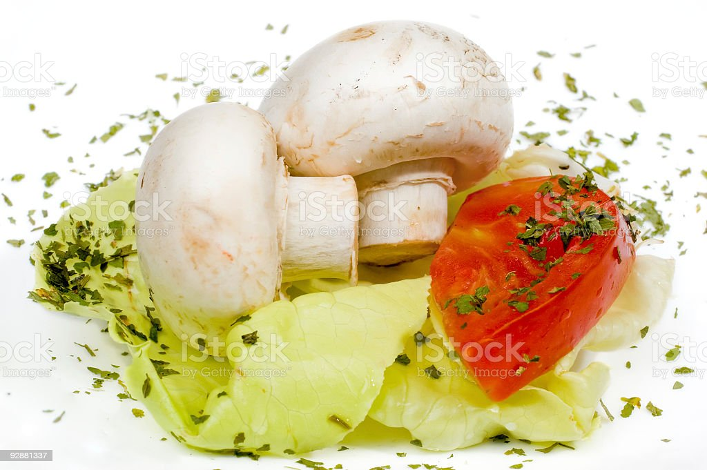Funghi e lattuga foto stock royalty-free