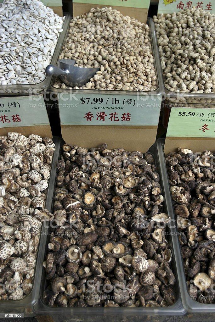 Mushrooms at Chinese Food Market royalty-free stock photo