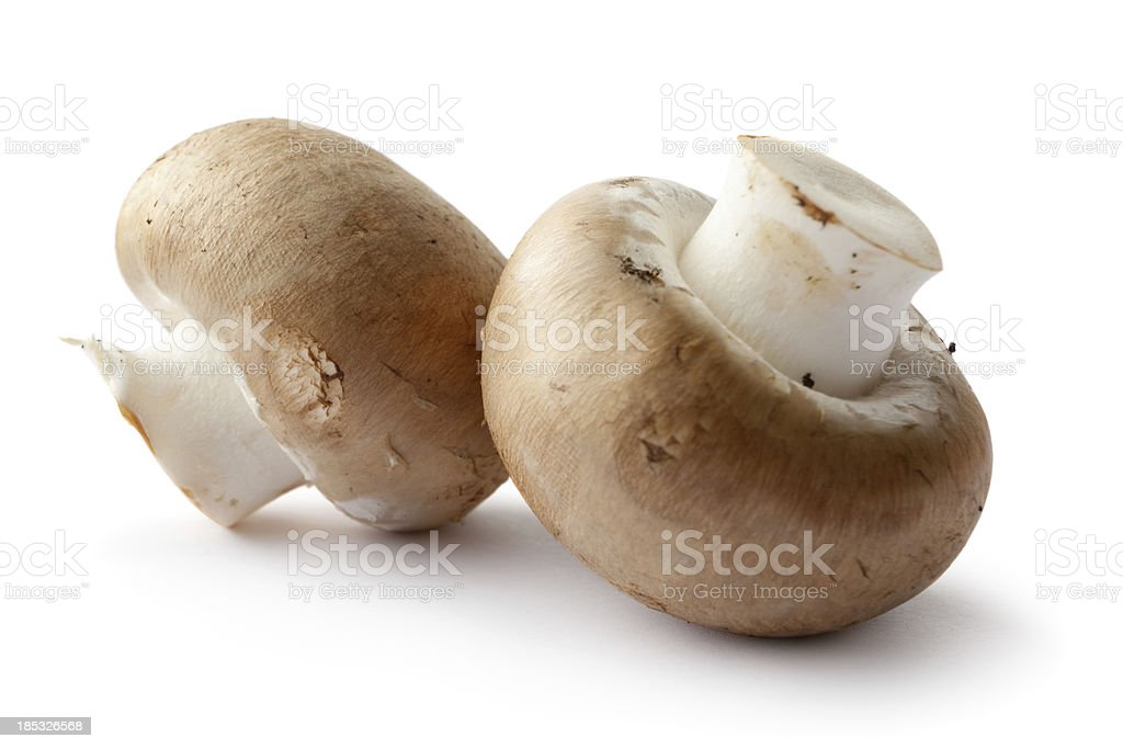 Mushrooms: Crimini Mushrooms Isolated on White Background stock photo