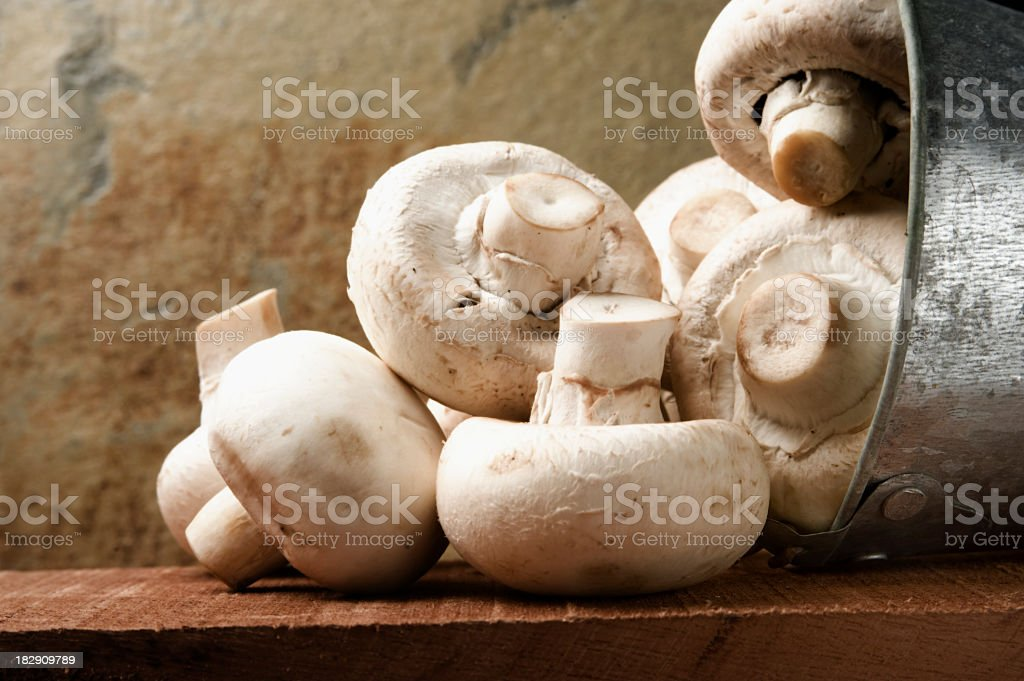 Mushrooms falling from a galvanized bucket, stone background. royalty-free stock photo