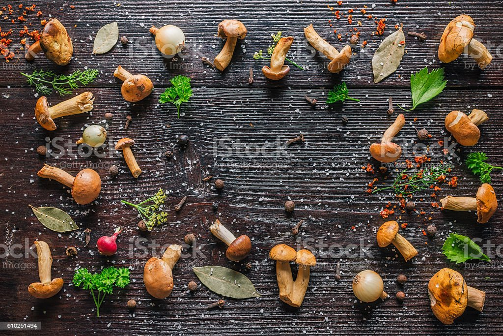 Mushrooms for pickles stock photo