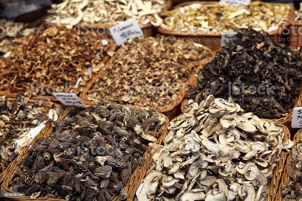 Mushrooms for sale stock photo