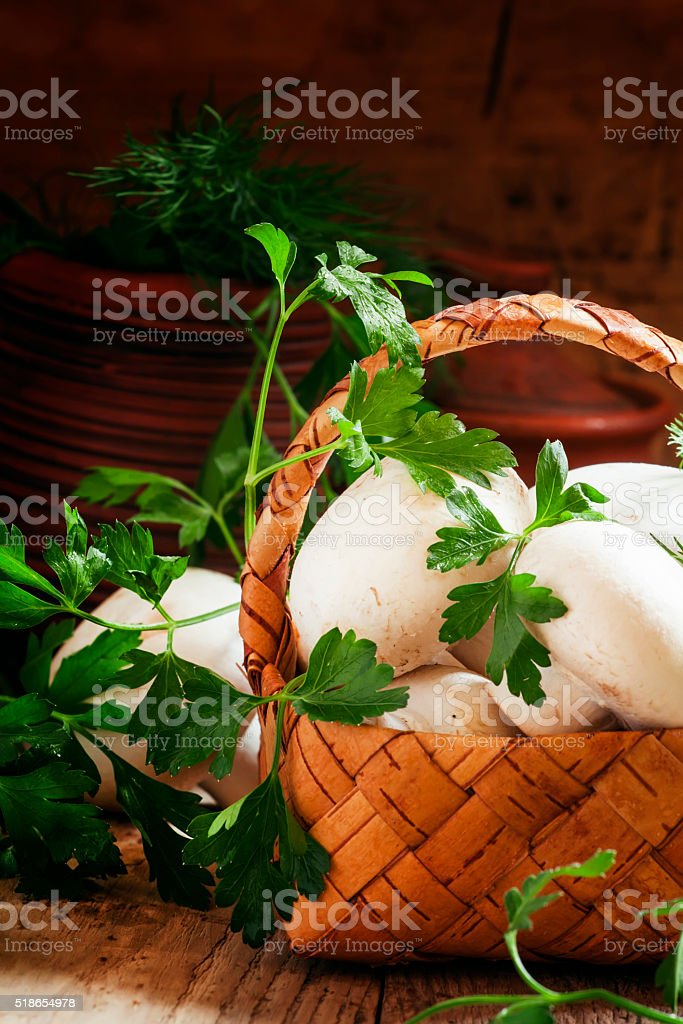 Mushrooms in a wicker basket, rustic style stock photo