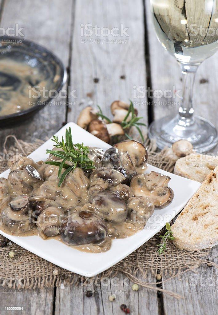 Mushrooms in Cream Sauce stock photo