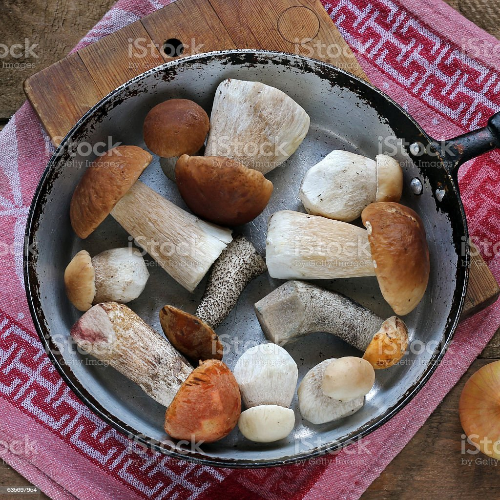 Mushrooms in the pan, top view. stock photo