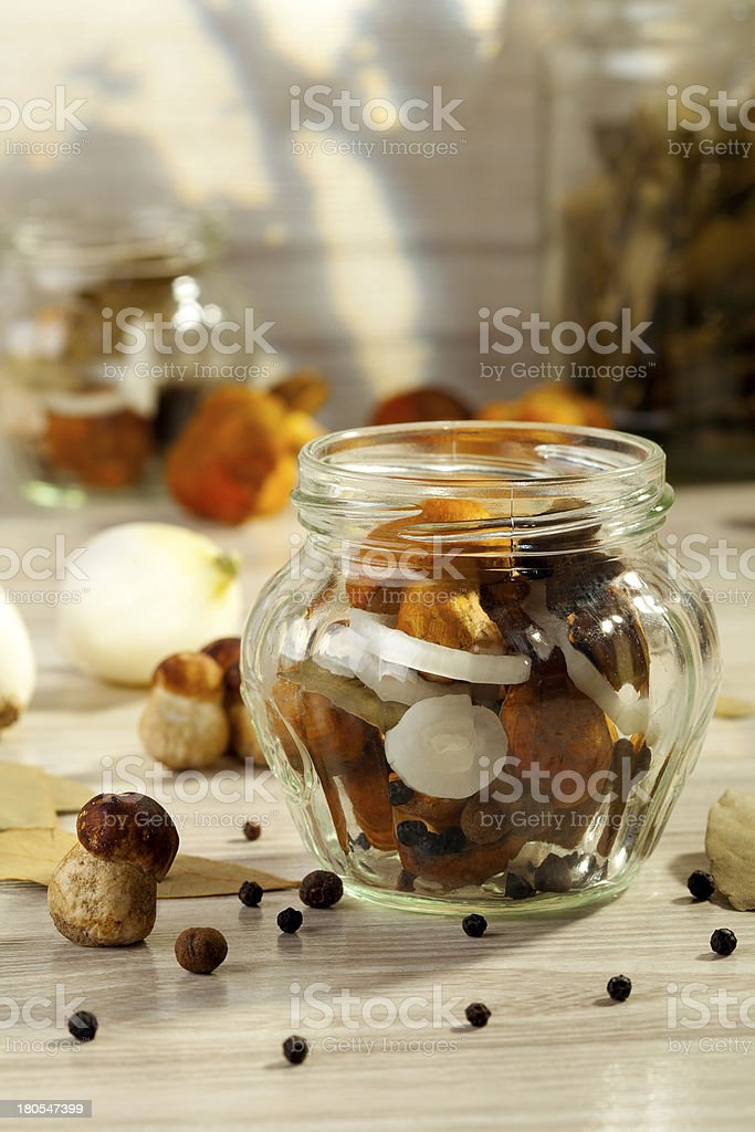 Mushrooms marinated in vinegar royalty-free stock photo