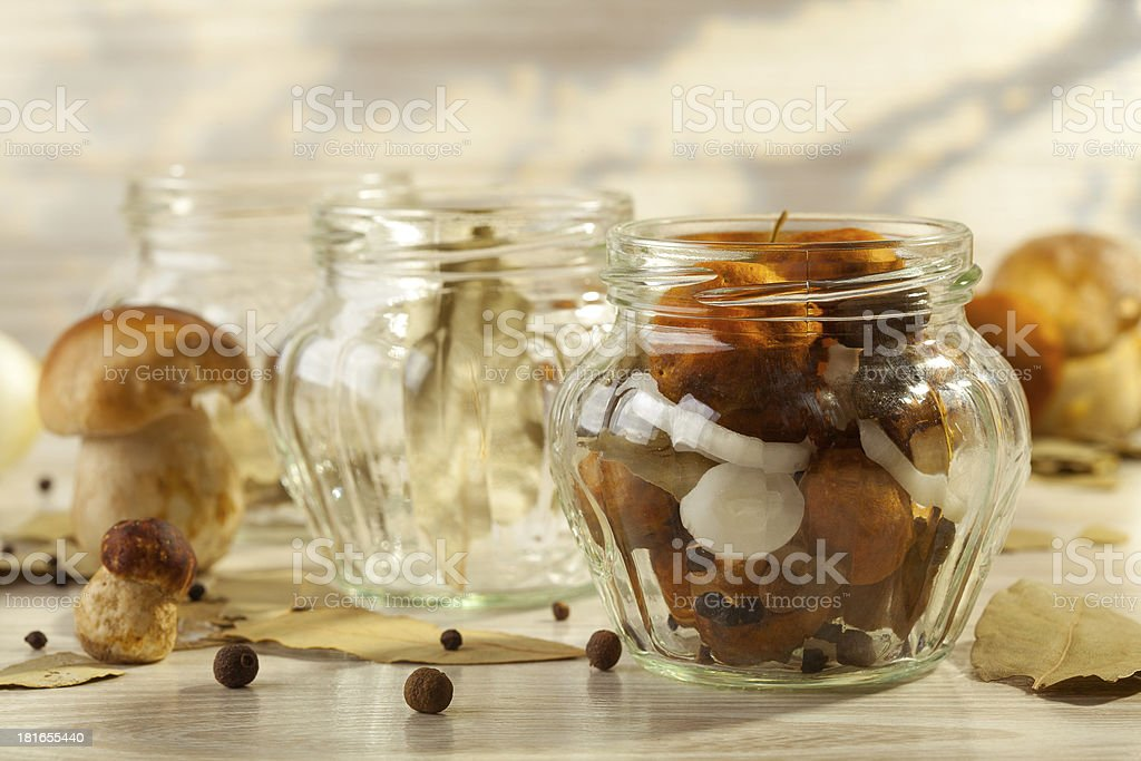 Mushrooms marinated in vinegar royalty-free stock photo