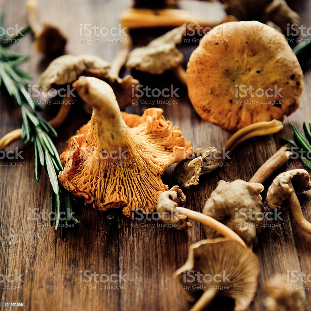 Mushrooms on a wooden table for cooking stock photo