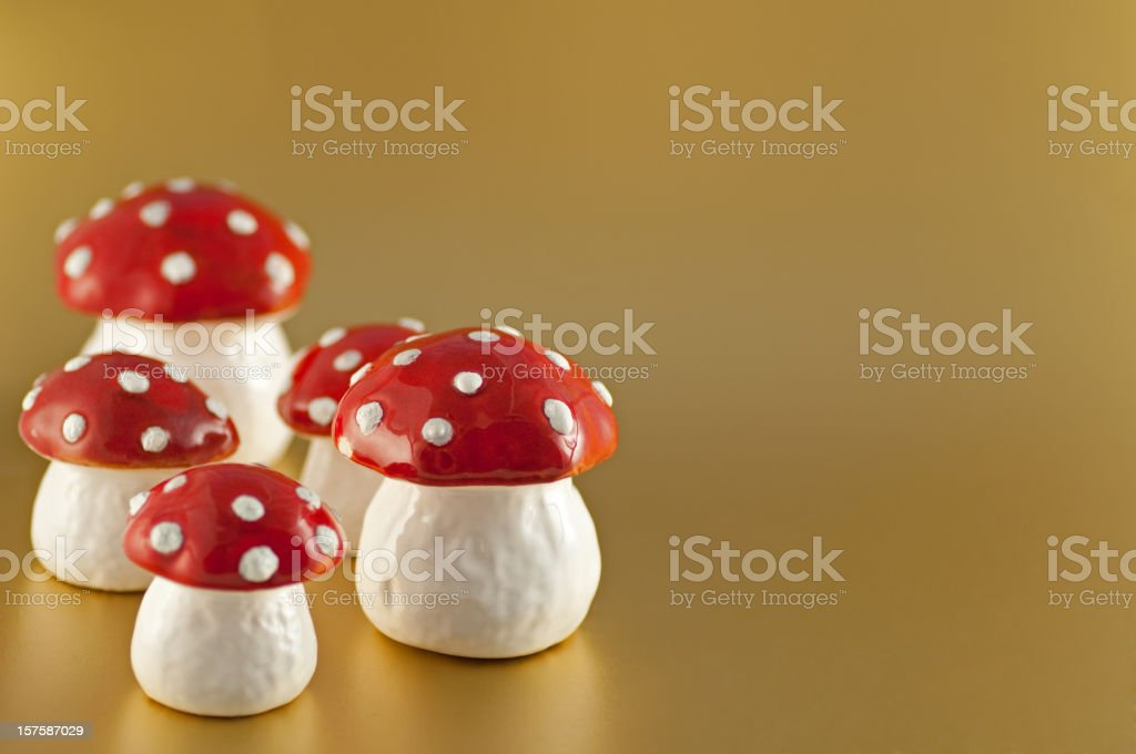 Mushrooms on gold royalty-free stock photo