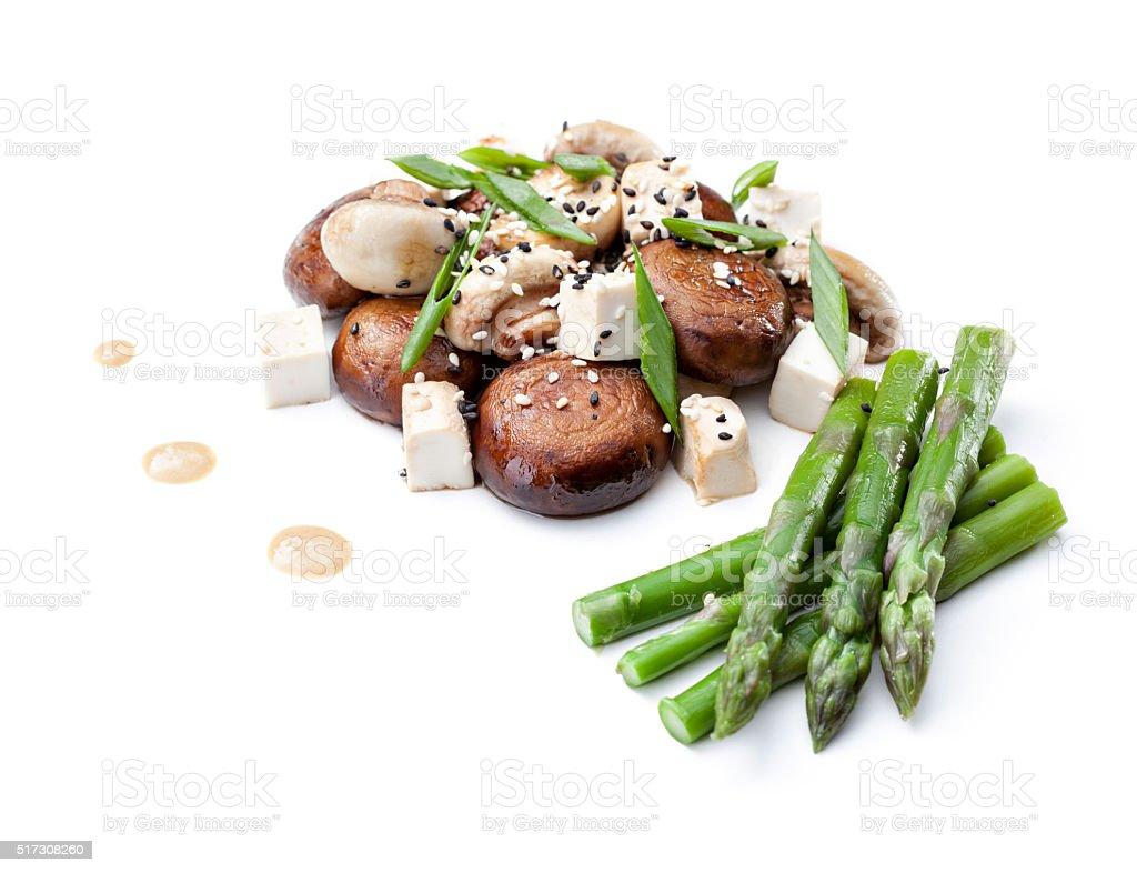 mushrooms with asparagus and tofu stock photo