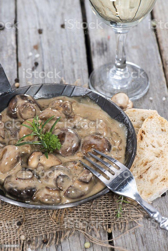 Mushrooms with Cream Sauce stock photo