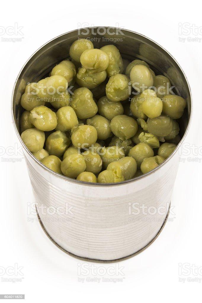 mushy pea in a aluminum can stock photo