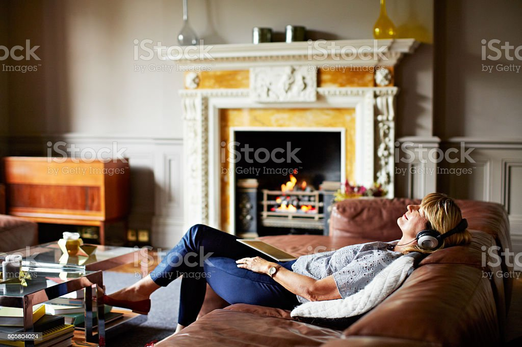 Music and a fire make for a relaxing day stock photo