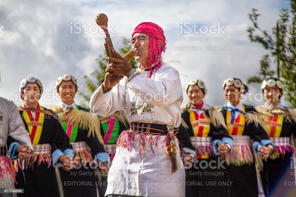 Music and dance of Naxi people stock photo