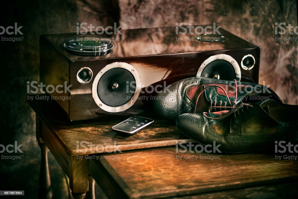 Music and dance shoes stock photo