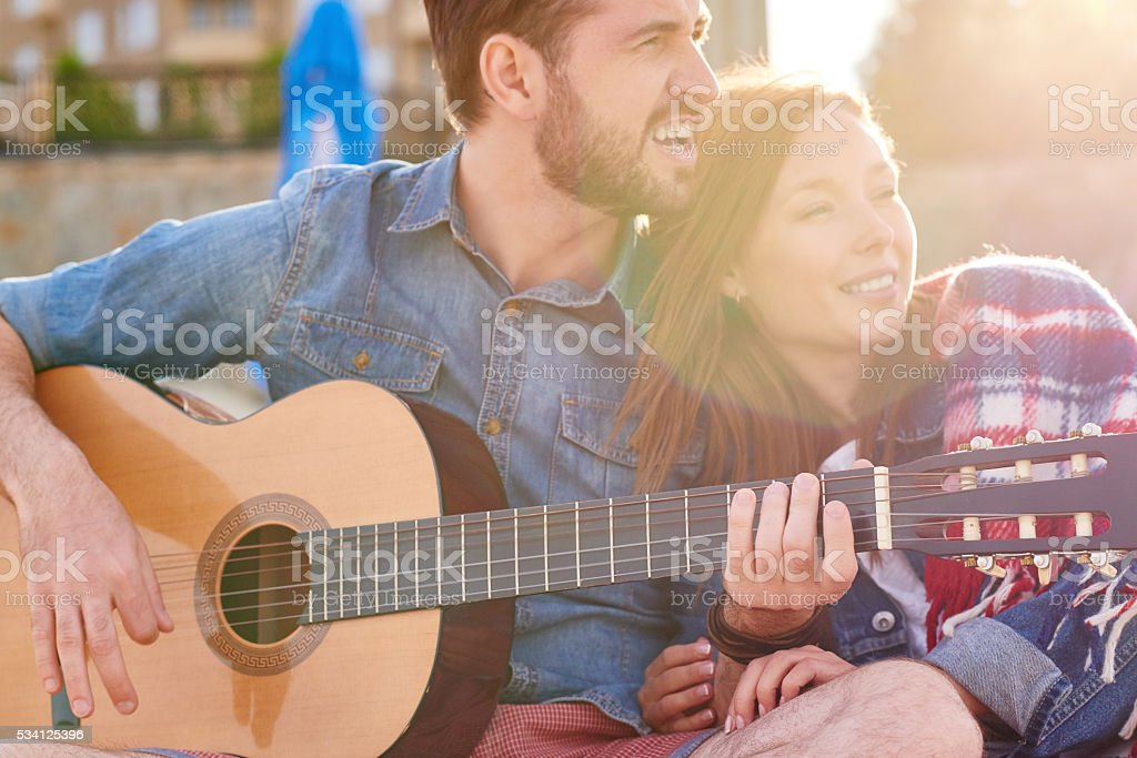 Music and love stock photo