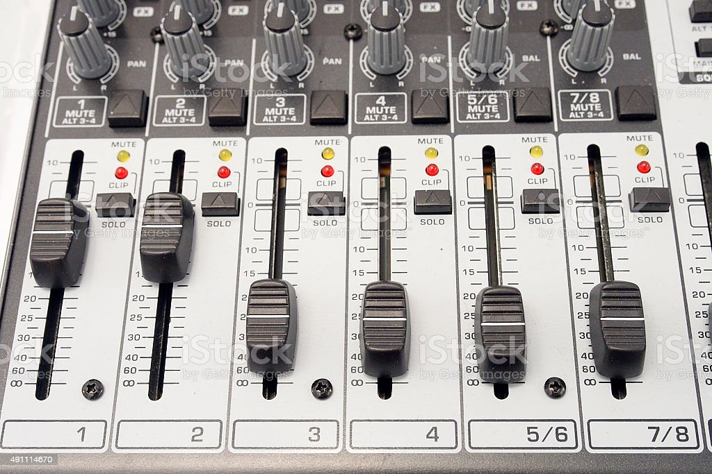 Music and sound. Control panel of an audio mixer stock photo