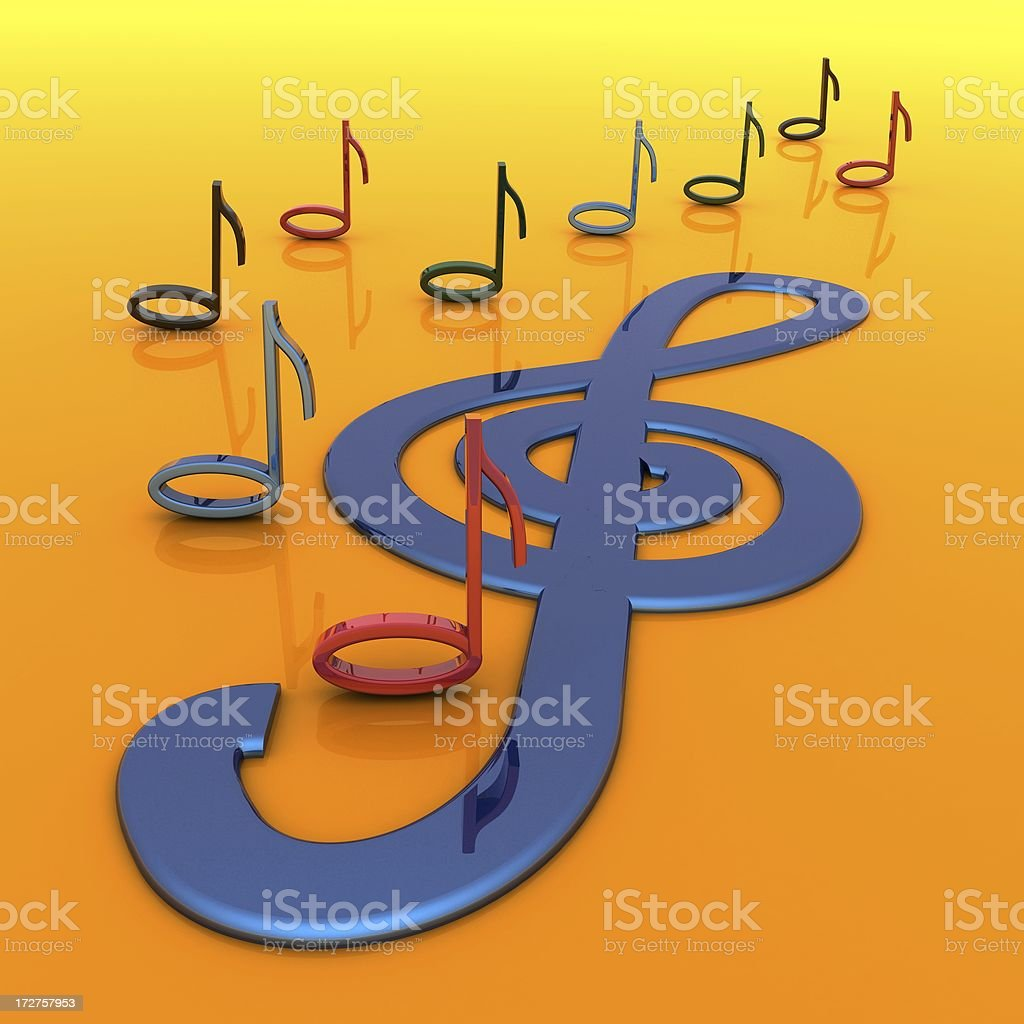 Music and Treble Clef royalty-free stock photo