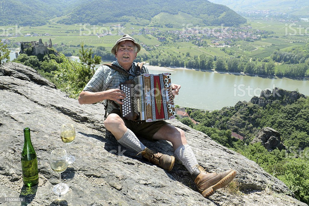 Music and wine in the Danube valley stock photo