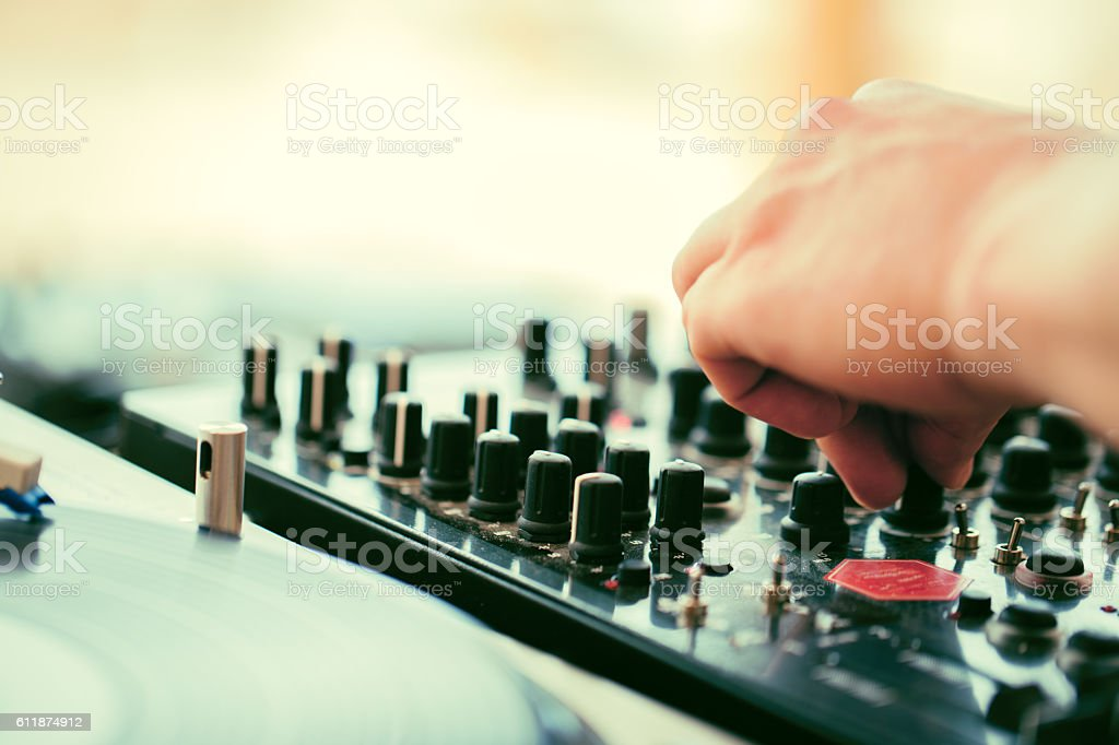 Music background - dj and turntable stock photo