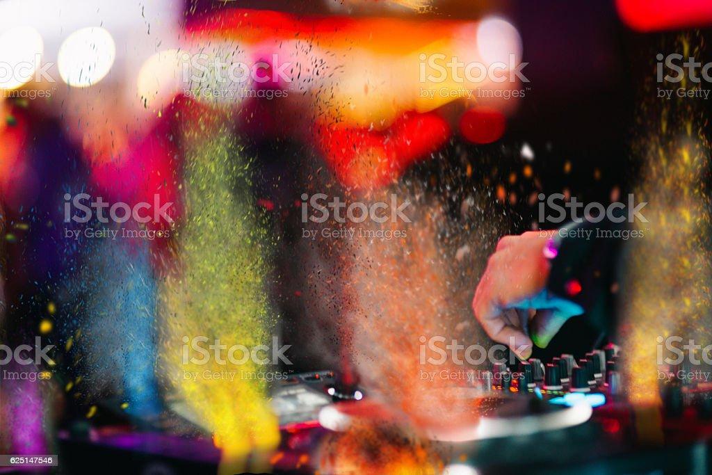 Music Background DJ Night Club Deejay Record Player Retro stock photo