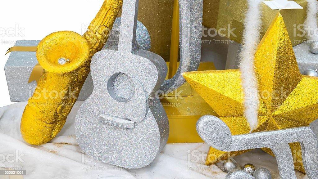 Music background, Guitar & Saxophone on snow stock photo