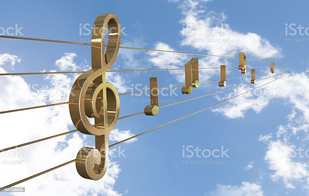 Music Background with Treble Clef stock photo