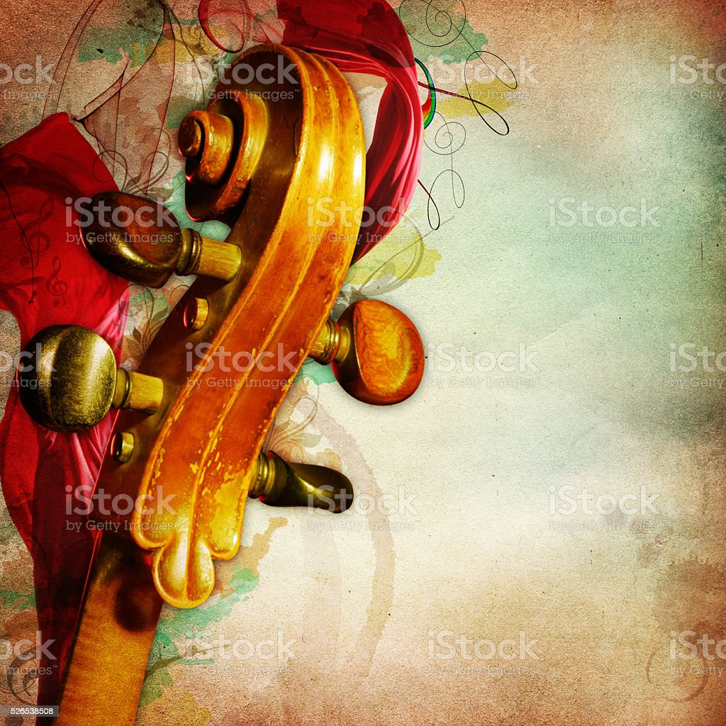 music background with yellowed paper and chello stock photo