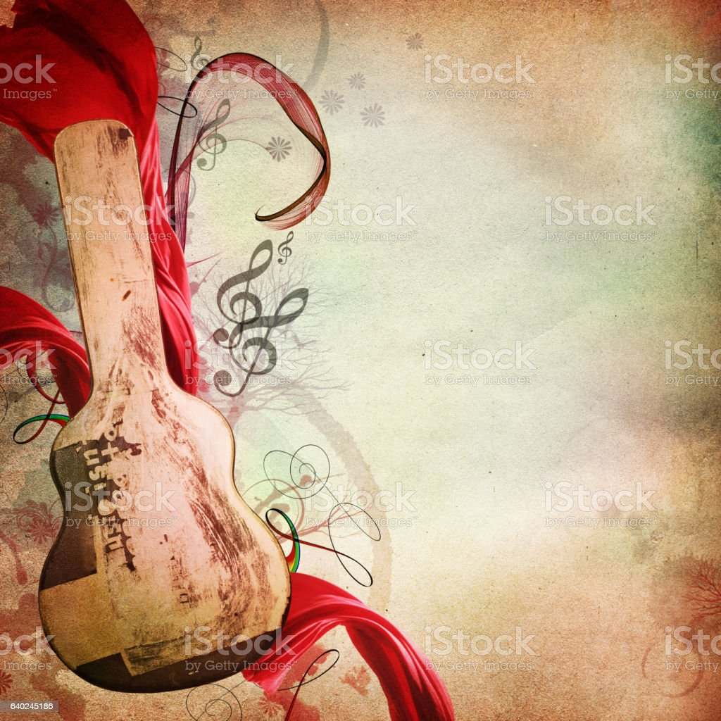 music background with yellowed paper and guitar box stock photo