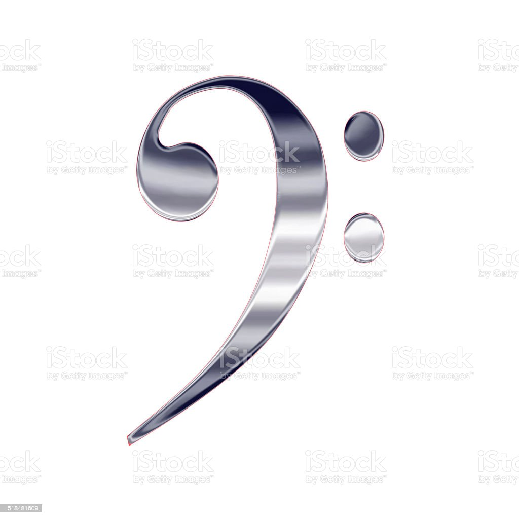 Music bass clef silver metal icon vector art illustration