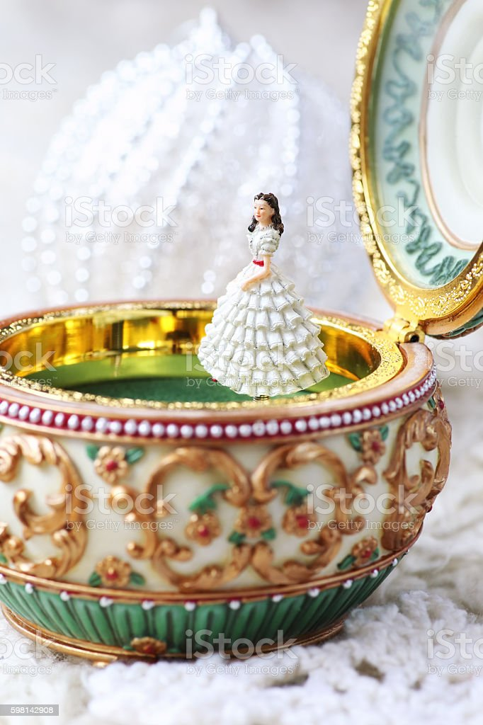 Music box and a white Christmas ball stock photo