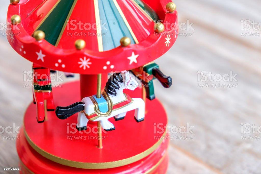 music box horse white merry-go-round red carousel horses toy closeup stock photo