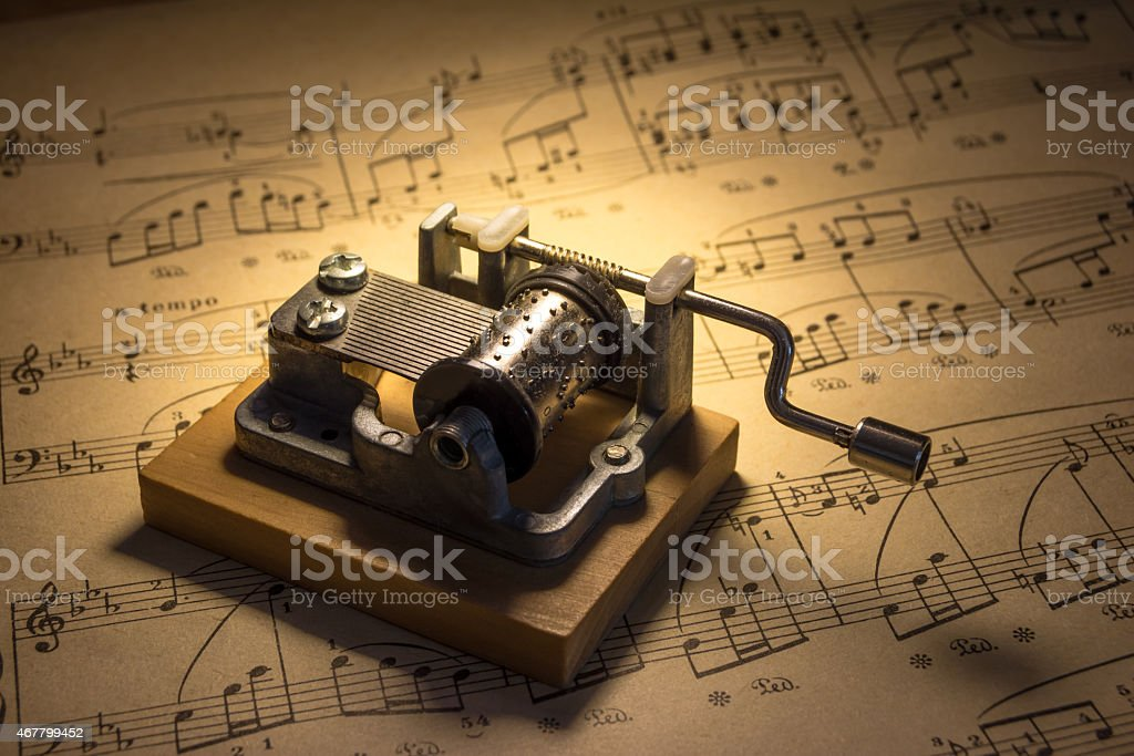 Music box with notes stock photo